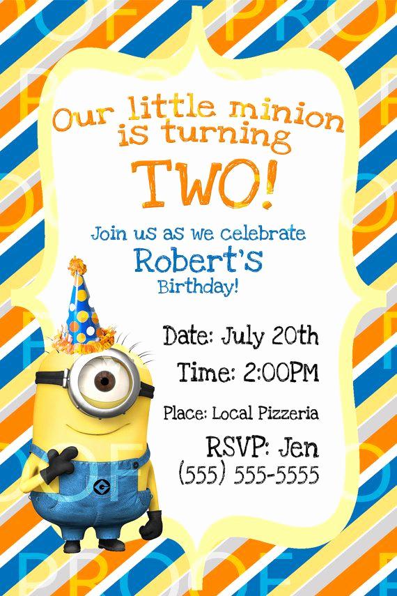 Minion Birthday Invitation Wording Beautiful 25 Best Ideas About Minion Birthday Invitations On