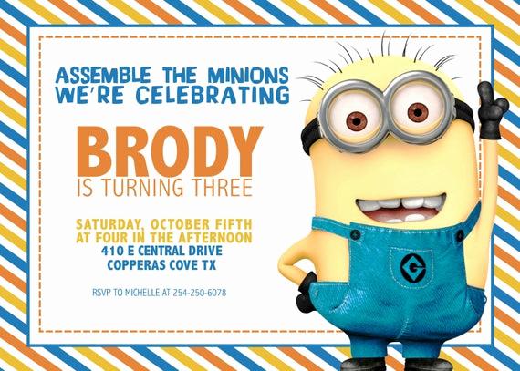 Minion Birthday Invitation Wording Beautiful Items Similar to Minion Birthday Invitation [digital File