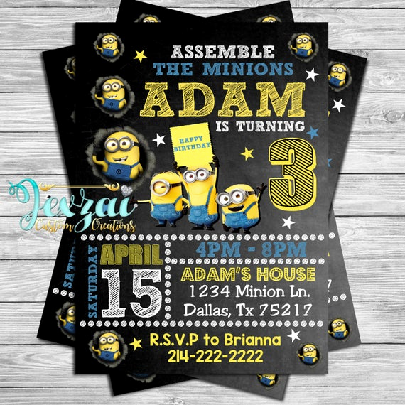 Minion Birthday Invitation Wording Elegant Minion Birthday Invitation Minion Party Invitation Minion