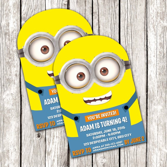 Minion Birthday Invitation Wording Elegant Minion Invitation Despicable Me Birthday Party Diy