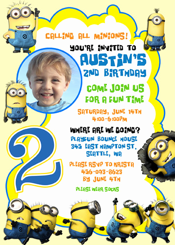 Minion Birthday Invitation Wording Fresh Despicable Me 2 Minions Turbo Snail Racing Custom Birthda