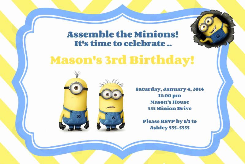 Minion Birthday Invitation Wording Lovely Free Printable Minion Birthday Party Invitations Ideas