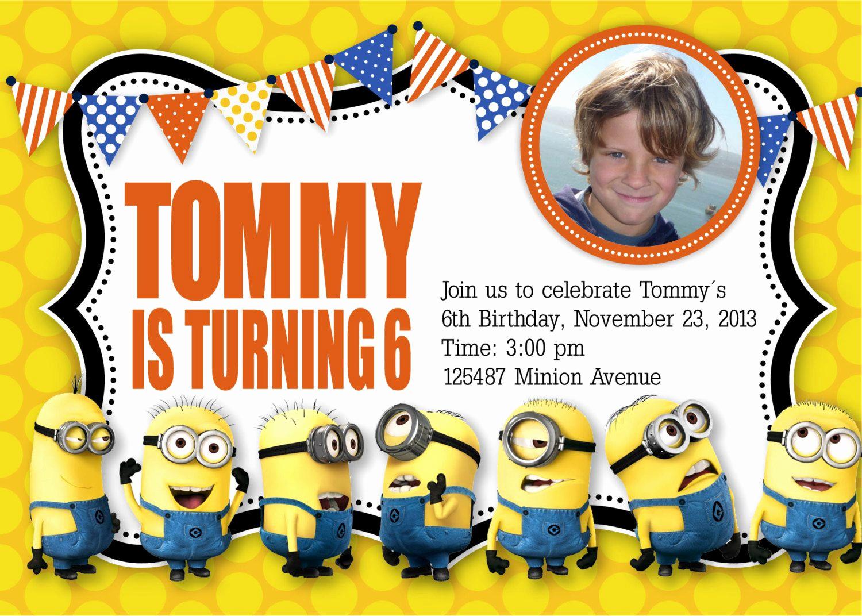 Minion Birthday Invitation Wording Lovely Minion Birthday Invitation Templates Free