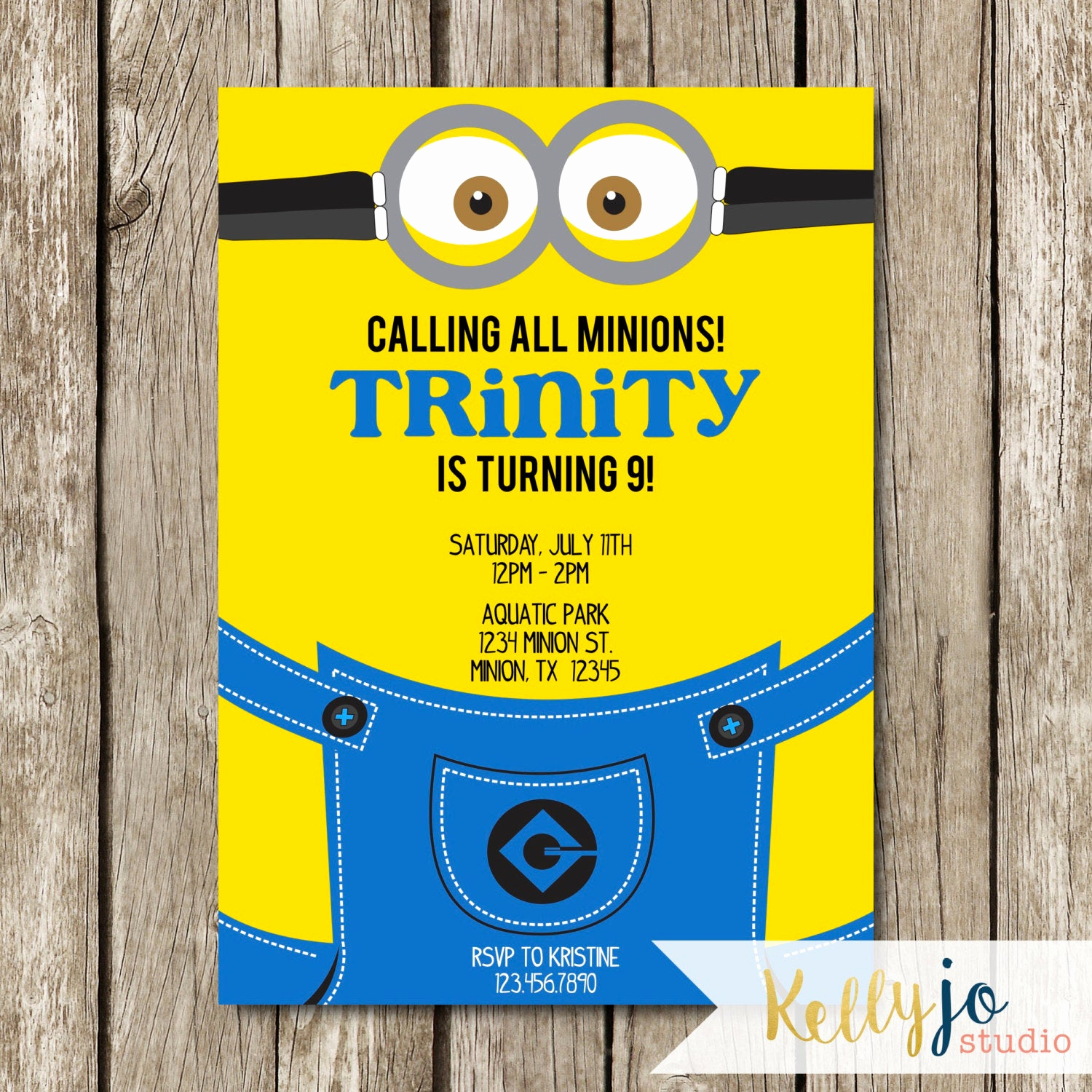 Minion Birthday Invitation Wording New Minion Birthday Party Invitation Yellow & Blue Minion Invite