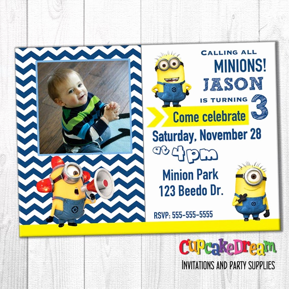 Minion Birthday Invitation Wording New Minion Invitation Despicable Me Birthday by Cupcake Dream