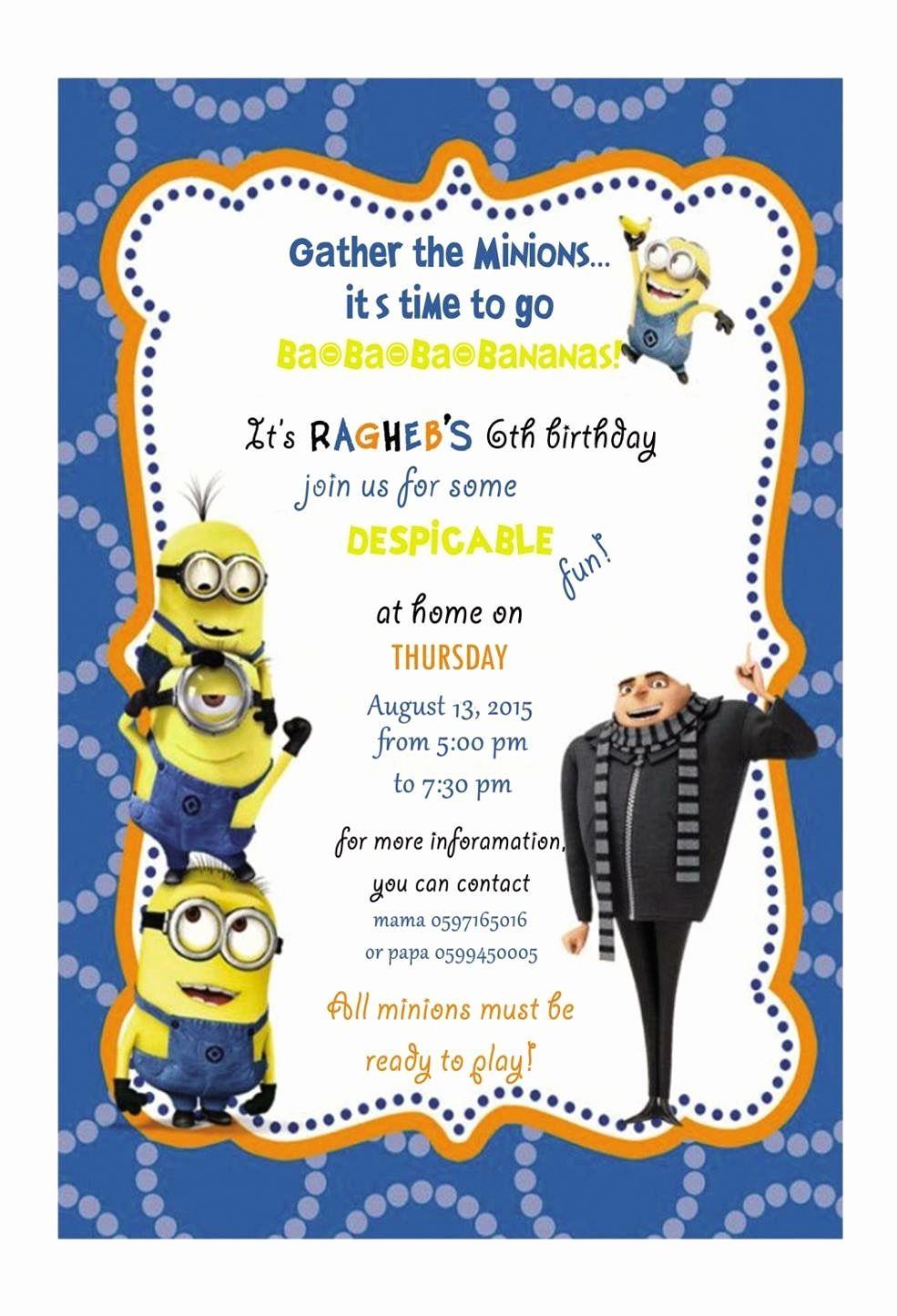 Minion Birthday Invitation Wording Unique Despicable Me Birthday Party Invitation Card