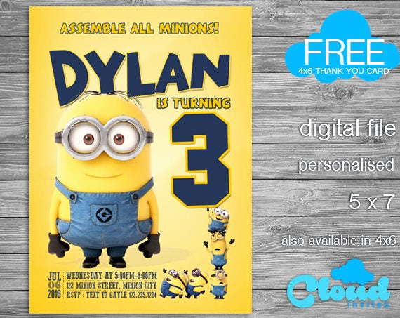 Minion Birthday Invitation Wording Unique Minion Birthday Invitation Minions Minion Invitation Minion