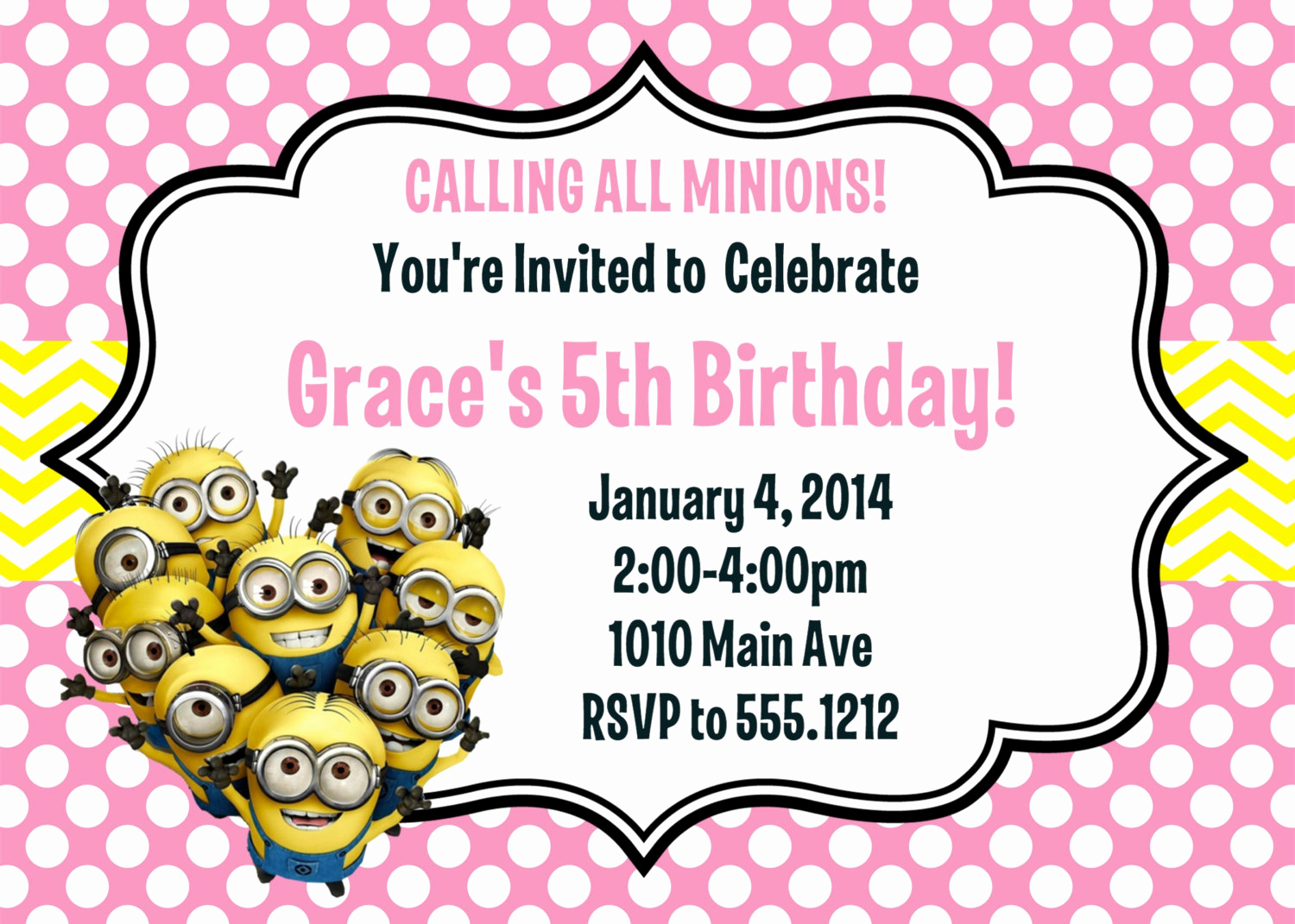 Minion Birthday Party Invitation Best Of Minion Birthday Party Invitation Printable 4x6 or 5x7