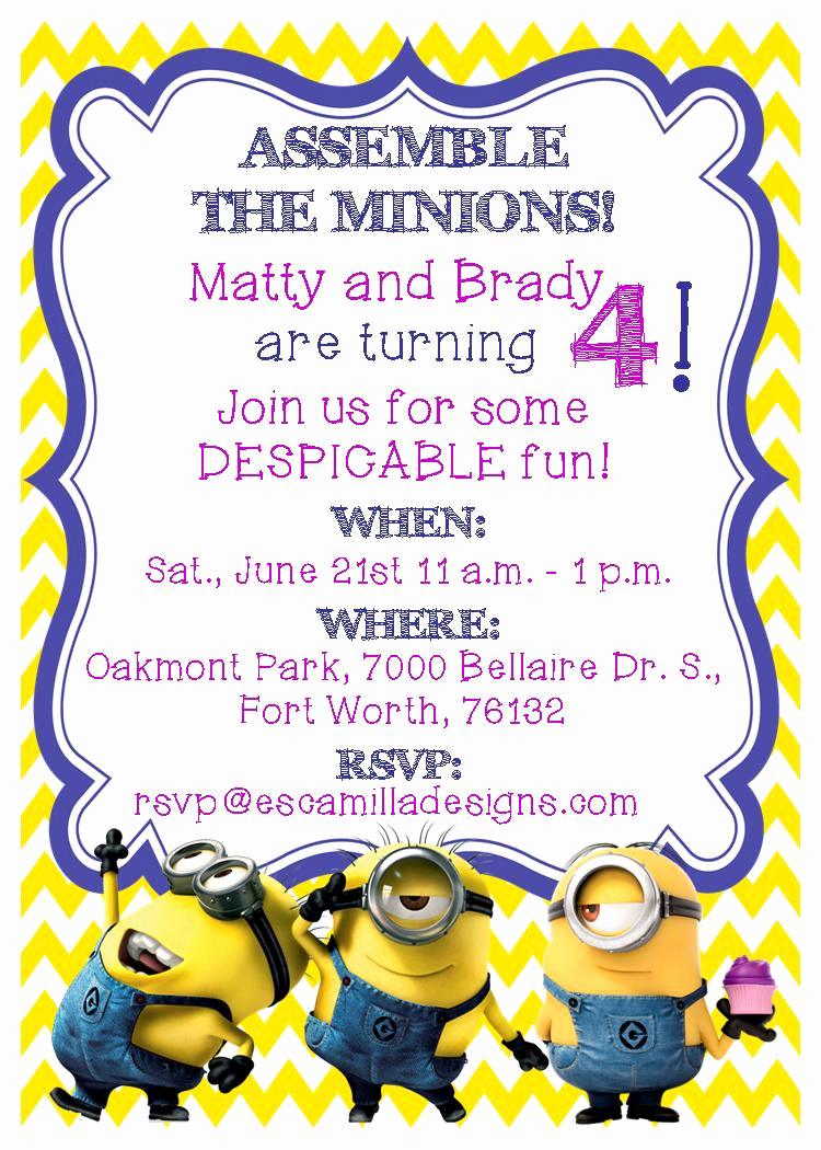 Minion Birthday Party Invitation Fresh Minions Birthday Party Invitation Twins Siblings