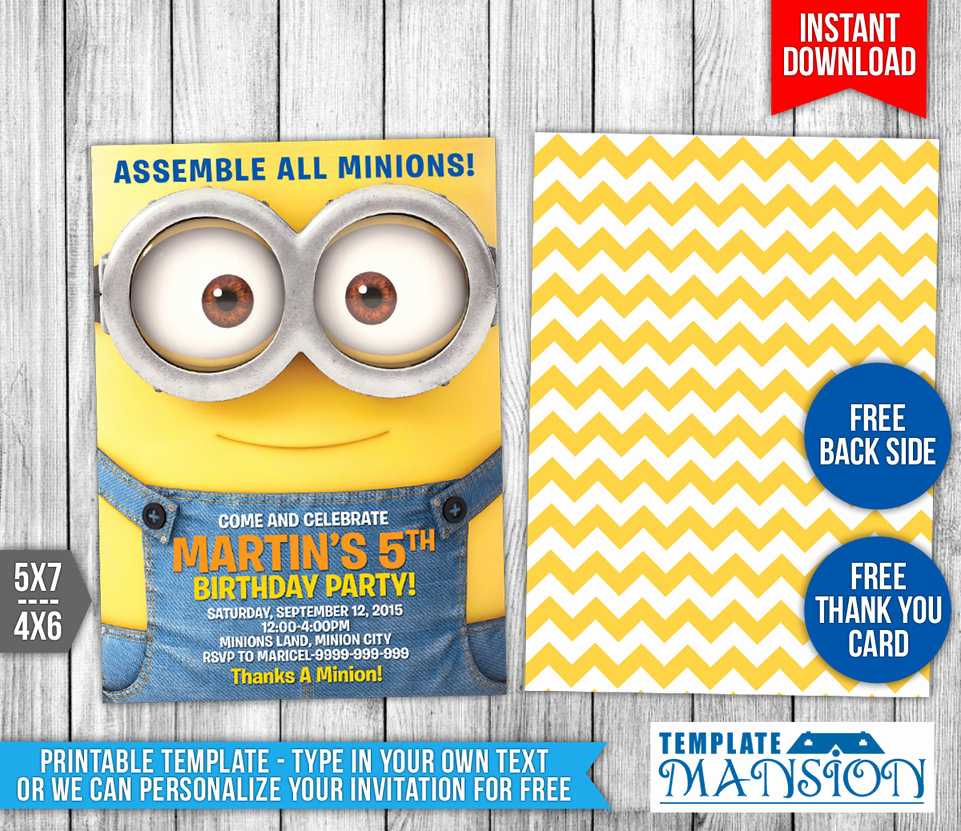 Minion Birthday Party Invitation Inspirational Minions Birthday Invitation 3 by Templatemansion On