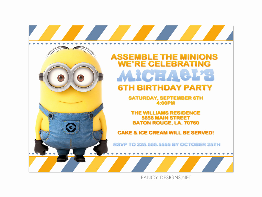 Minion Birthday Party Invitation Lovely Minion Birthday Party Invitations 10 Invitations by Fancybelle