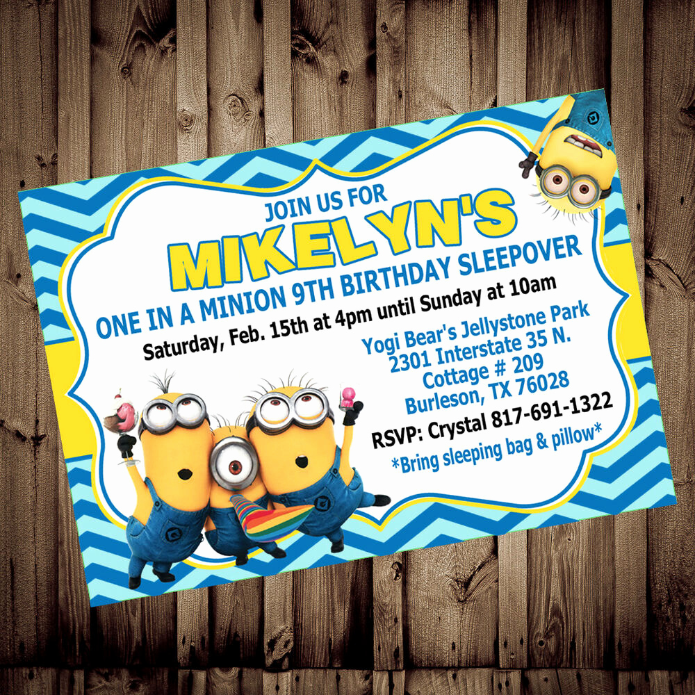 Minion Birthday Party Invitation Luxury Personalized Minion Despicable Me Birthday 4x6 5x7 Printed