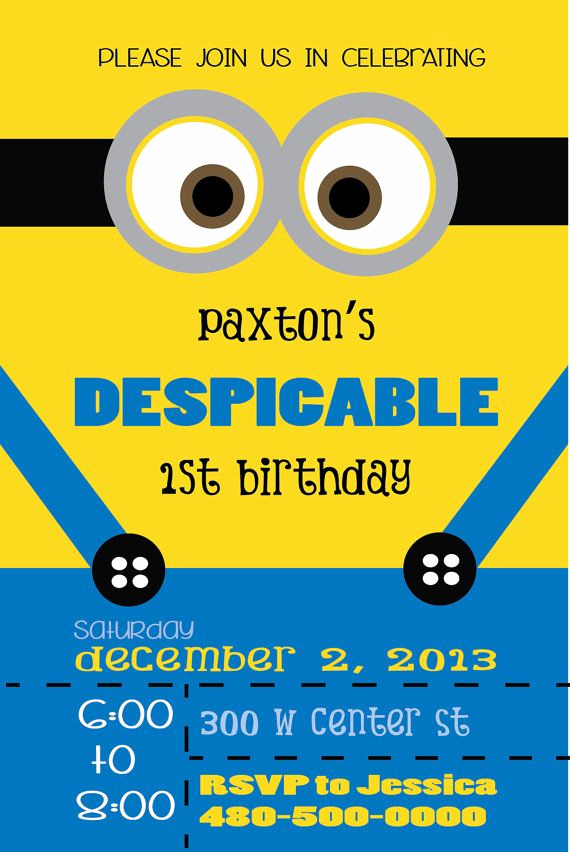 Minions Birthday Invitation Card Best Of 59 Best Images About Petete S Party On Pinterest