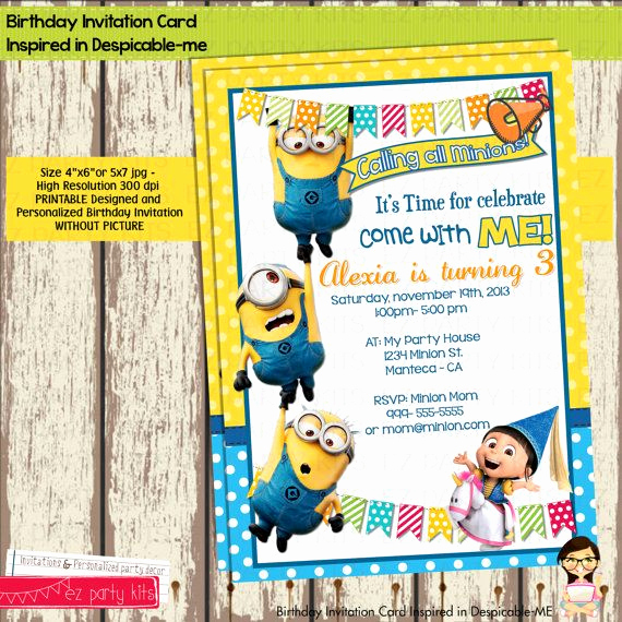 Minions Birthday Invitation Card Fresh 14 Best Images About Minions On Pinterest