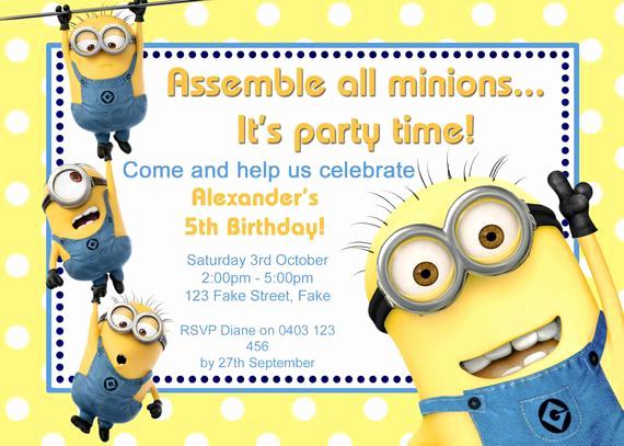 Minions Birthday Invitation Card Fresh Customised Minion Birthday Invitation Printable by