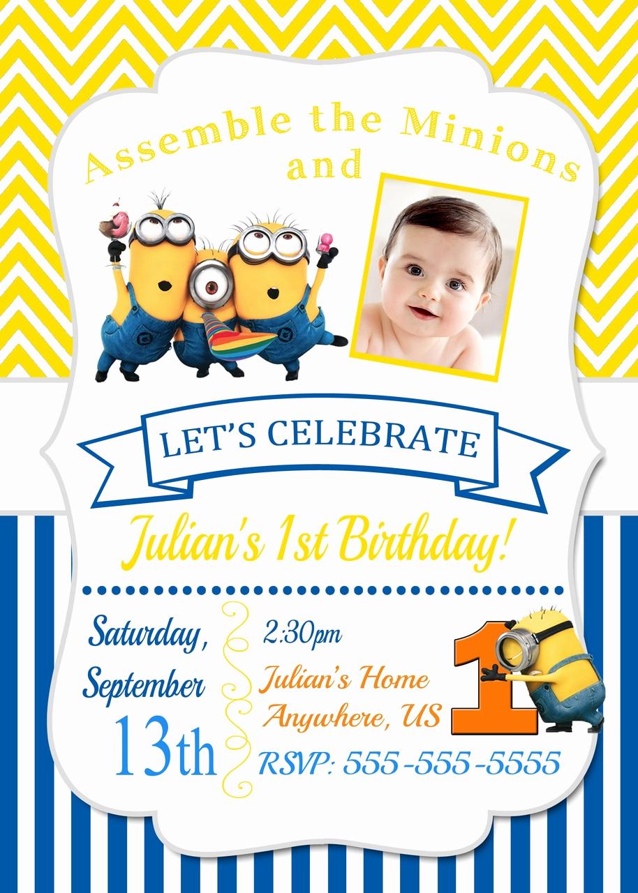 Minions Birthday Invitation Card Fresh Despicable Me Minions Birthday Invitations Chevron