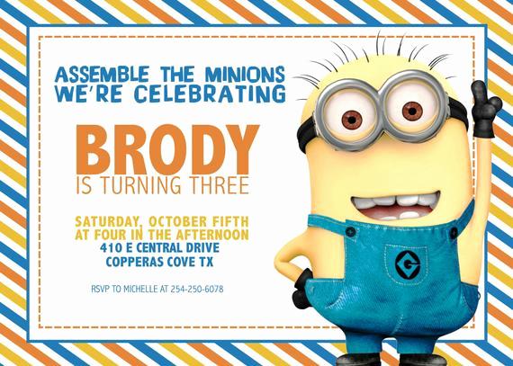 Minions Birthday Invitation Card Lovely Items Similar to Minion Birthday Invitation [digital File