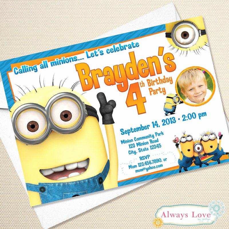 Minions Birthday Invitation Card Lovely Printable Minion Birthday Invitation Digital File
