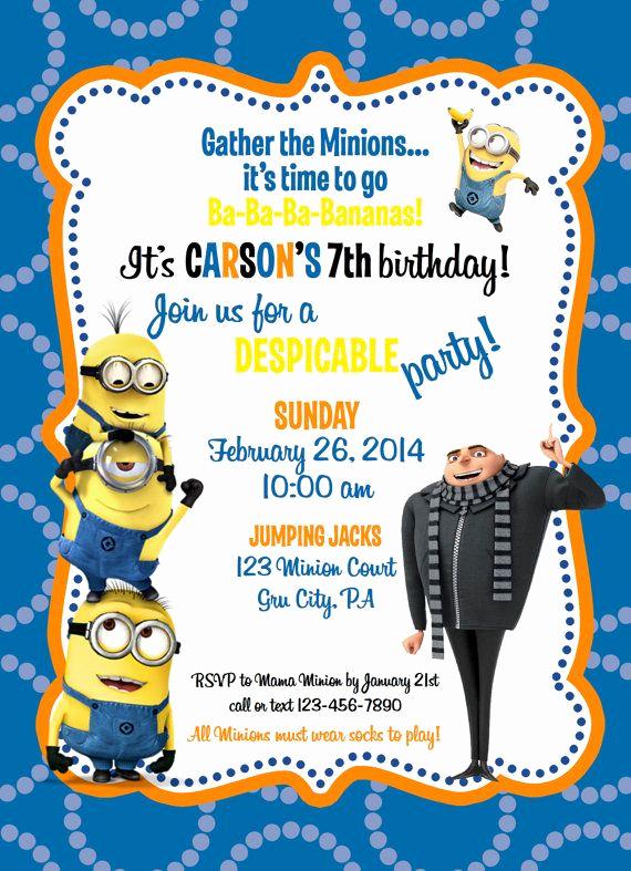 Minions Birthday Invitation Card Luxury Despicable Me Minion Birthday Invitation by Ckfireboots On