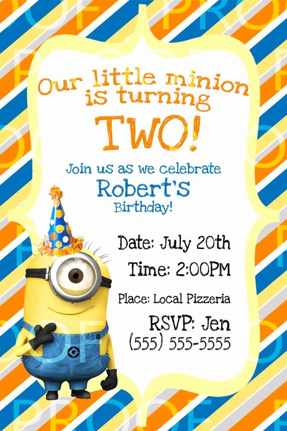 Minions Birthday Invitation Card New Custom Despicable Me 2 Birthday Invitation by