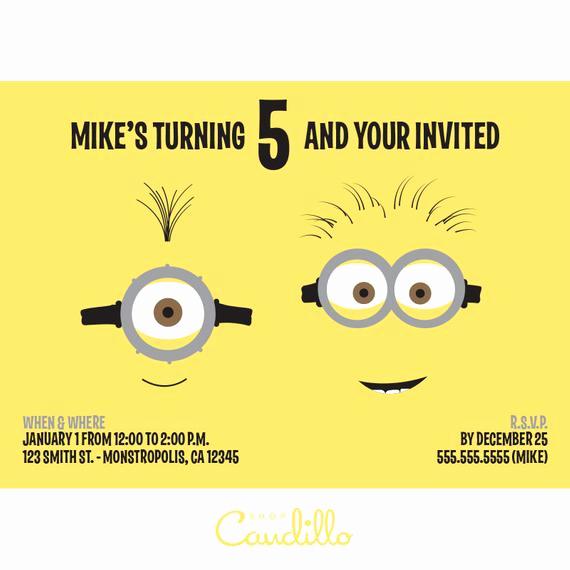 Minions Birthday Invitation Card New Items Similar to Despicable Me Birthday Invitation Card