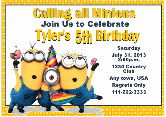 Minions Birthday Invitation Card Unique 17 Best Images About Minion Party Ideas On Pinterest
