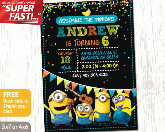 minion party invitation minion