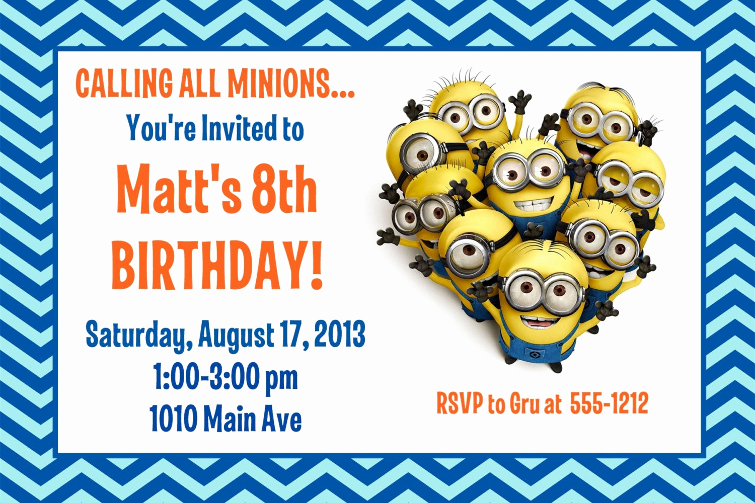 Minions Birthday Invitation Cards Awesome Minion Birthday Party Invitation Printable 4x6 or 5x7