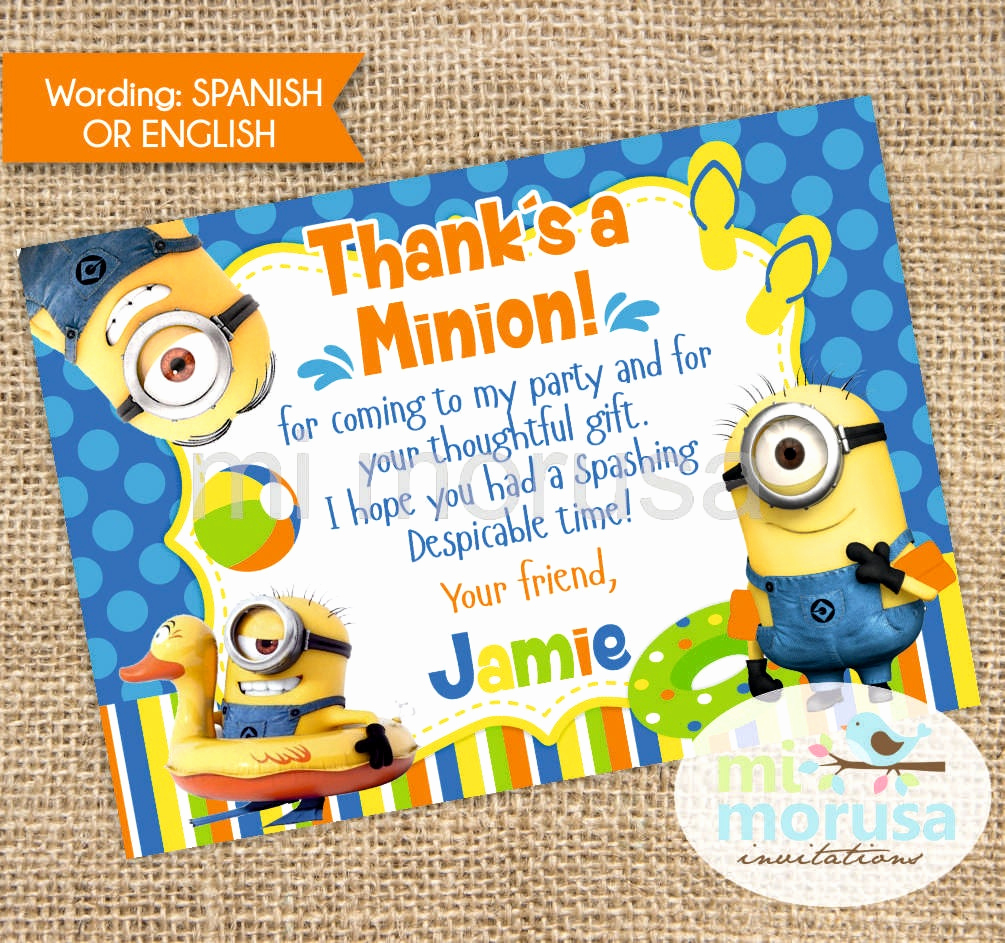 Minions Birthday Invitation Cards Beautiful Thank You Card Minion Pool Party Matching
