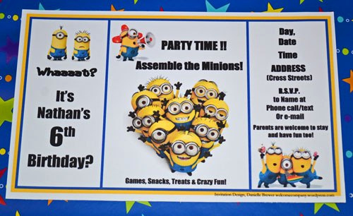 """Minions Birthday Invitation Cards Inspirational assemble the Minions We're Celebrating """"despicable Me"""