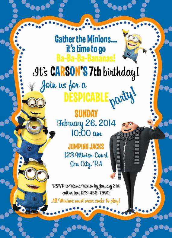 Minions Birthday Invitation Cards Inspirational Unavailable Listing On Etsy