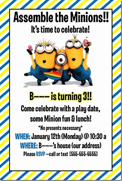 Minions Birthday Invitation Maker Fresh Kiley today Minion Birthday Party