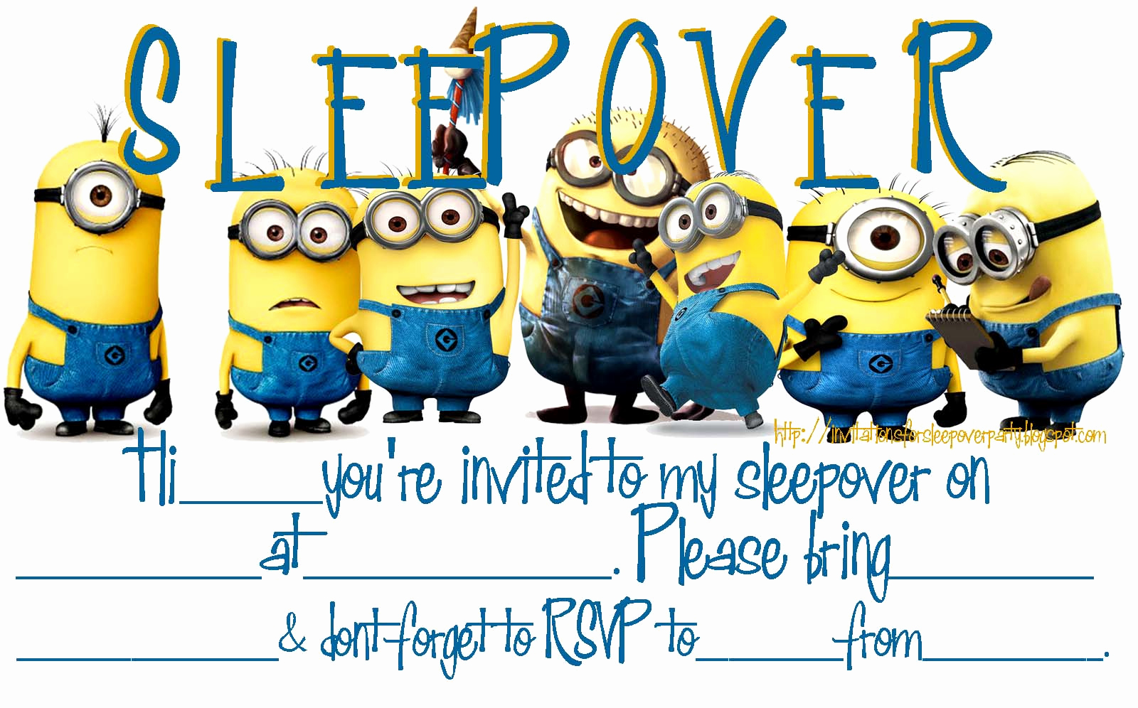 Minions Birthday Invitation Maker Luxury Invitations for Sleepover Party