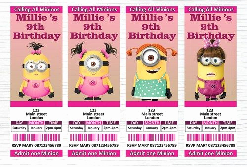 Minions Birthday Invitation Maker Unique Personalised Girl Minion Birthday Party Ticket Invitation