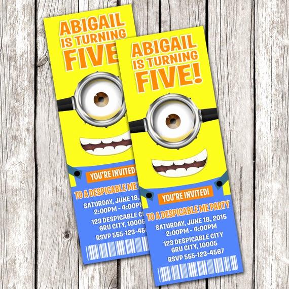 Minions Birthday Invitation Online Beautiful Minion Ticket Invitation Despicable Me Birthday Party Diy