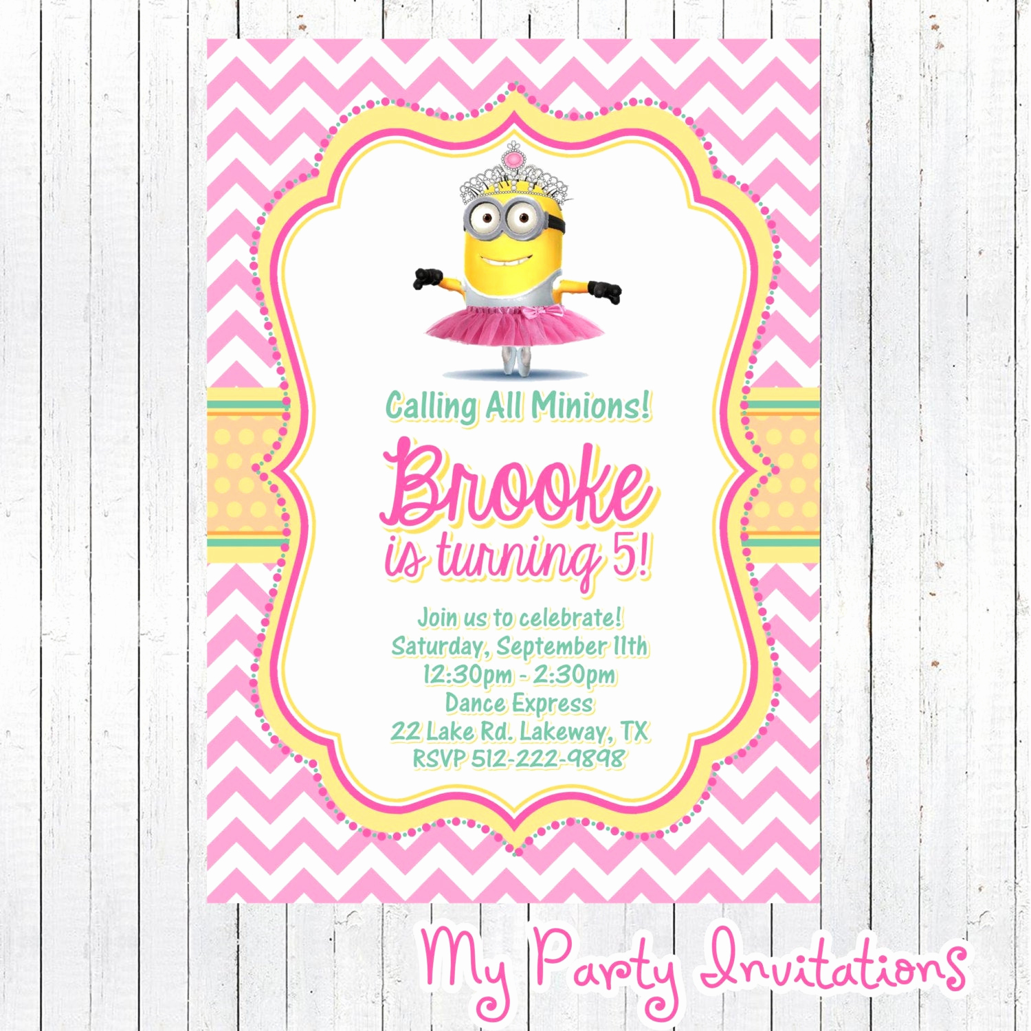 Minions Birthday Invitation Template Beautiful Girly Princess Minion Despicable Me Birthday by