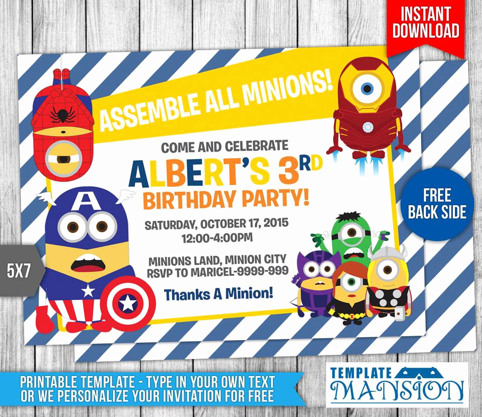 Minions Birthday Invitation Template Best Of Minions Avengers Birthday Invitation Template 9 by