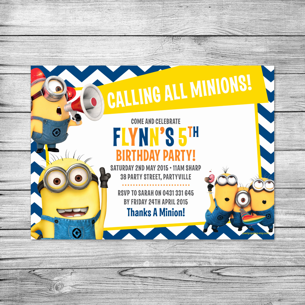 Minions Birthday Invitation Template Lovely the Minions Invite Minions Birthday Party by Pixelpopshop