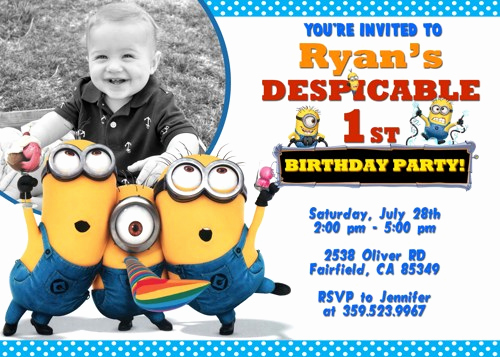 Minions Birthday Invitation Template Luxury Free Printable Minion Birthday Party Invitations Ideas