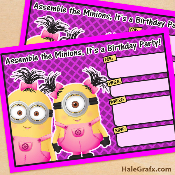 Minions Birthday Invitation Template New Free Printable Despicable Me Girl Minion Birthday Invitation