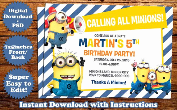 Minions Birthday Invitation Template Unique Instant Download Minions Birthday Invitation Template