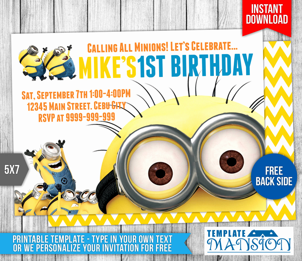 Minions Birthday Invitation Templates Beautiful Minions Birthday Invitation 6 by Templatemansion On