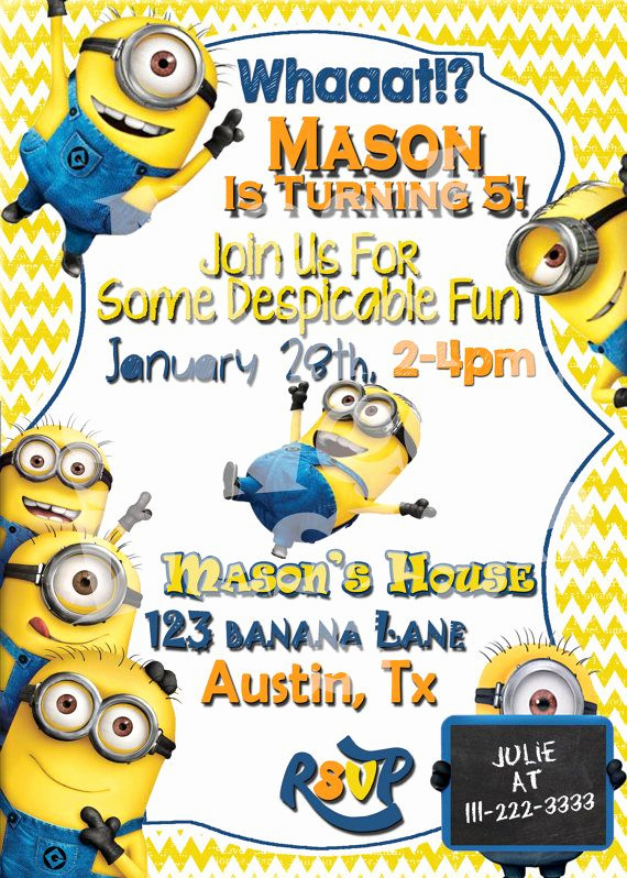 Minions Birthday Invitation Templates Elegant Minion Birthday Invitation Despicable Me