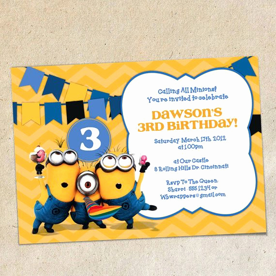 Minions Birthday Invitation Templates Elegant Minions Chevron Bunting Invitation Template Instant
