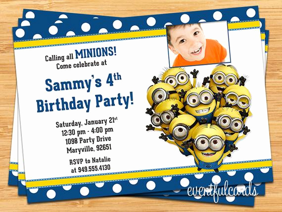 Minions Birthday Invitation Templates Elegant Minions Kids Birthday Party Invitation Printable Digital File