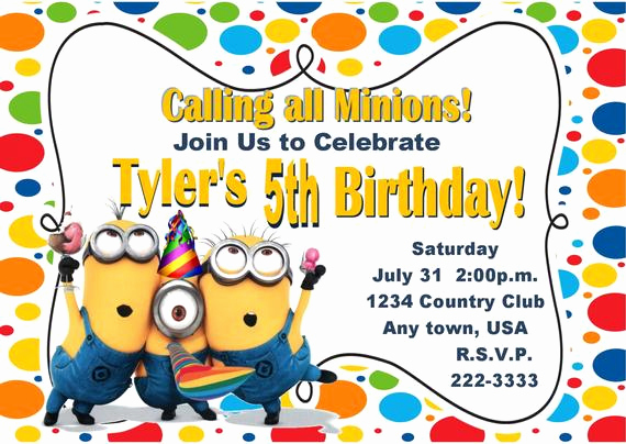 Minions Birthday Invitation Templates Fresh Minion Birthday Invitations Templates
