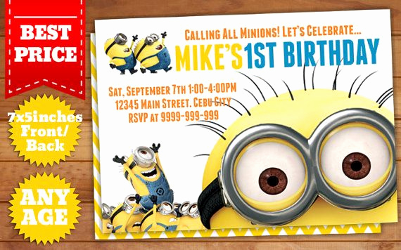 Minions Birthday Invitation Templates Inspirational This Instant Downloadable is for A Minions Birthday