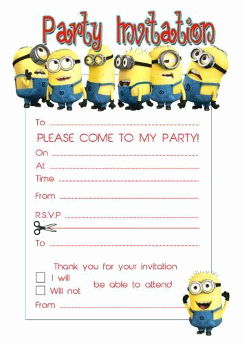Minions Birthday Invitation Templates Lovely Birthday Invitations Party Invites