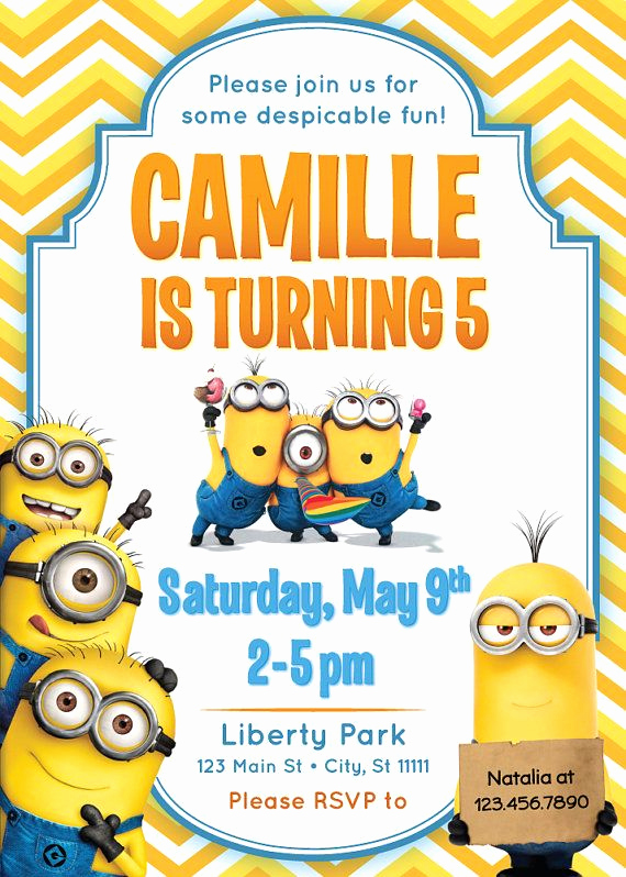 Minions Birthday Invitation Templates Lovely Despicable Me Minions Invitation Printable Kids by