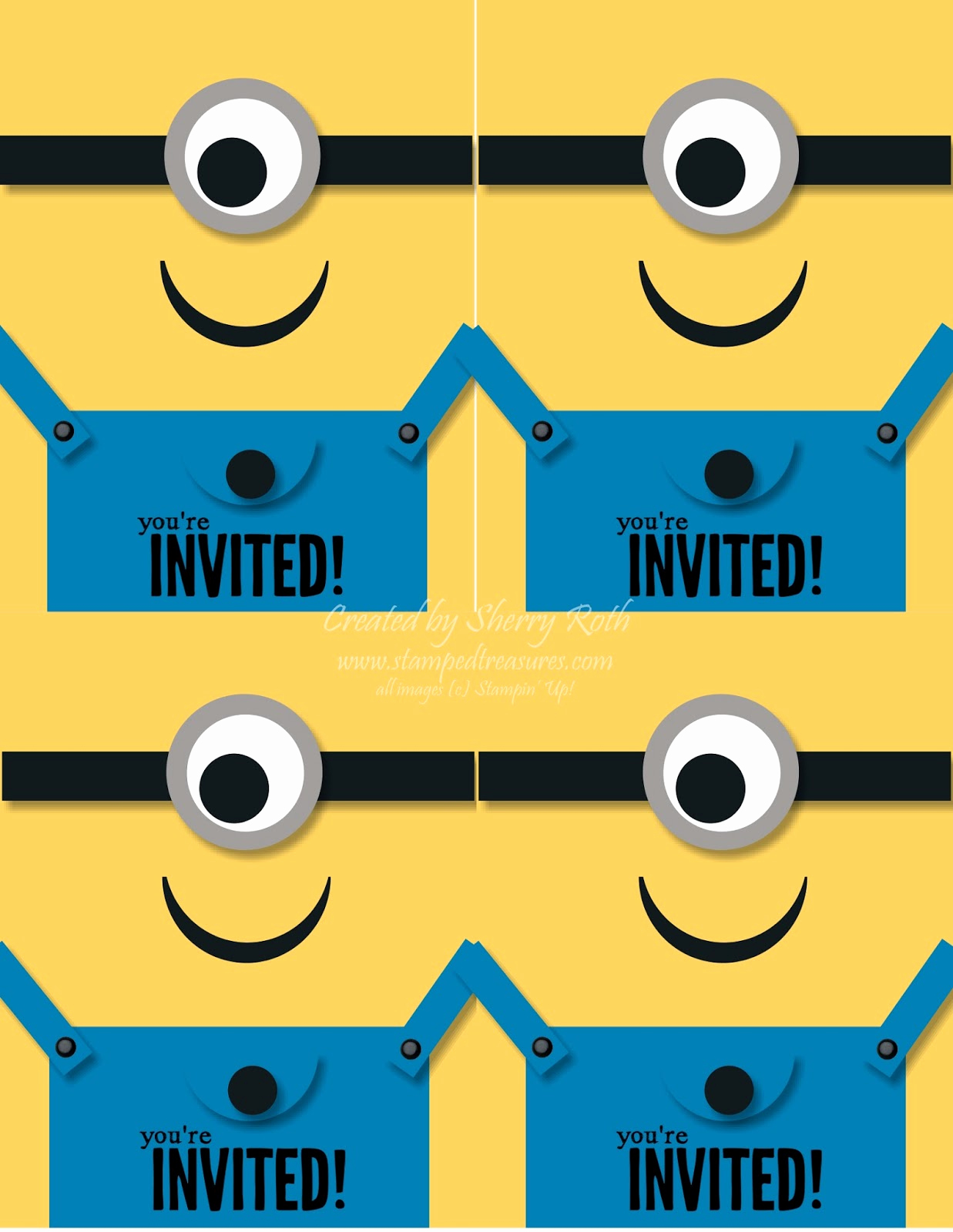 "Minions Birthday Invitation Templates Luxury Sherry""s Stamped Treasures Minion Birthday Invitations"